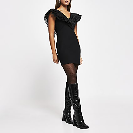 Black frill bow detail fitted mini dress