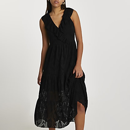 Black frill broidery smock midi dress