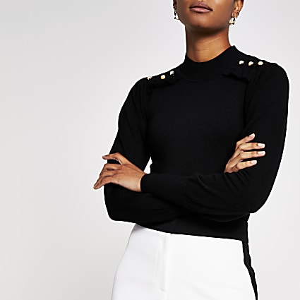 Black frill button shoulder knitted jumper