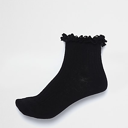Black frill cable knit socks
