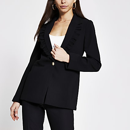 Black frill collar blazer
