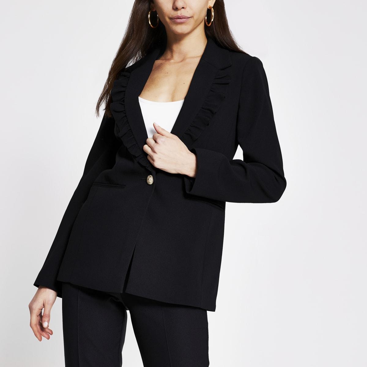 Black frill collar blazer