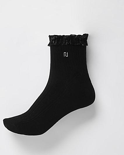 Black frill detail cable knit socks