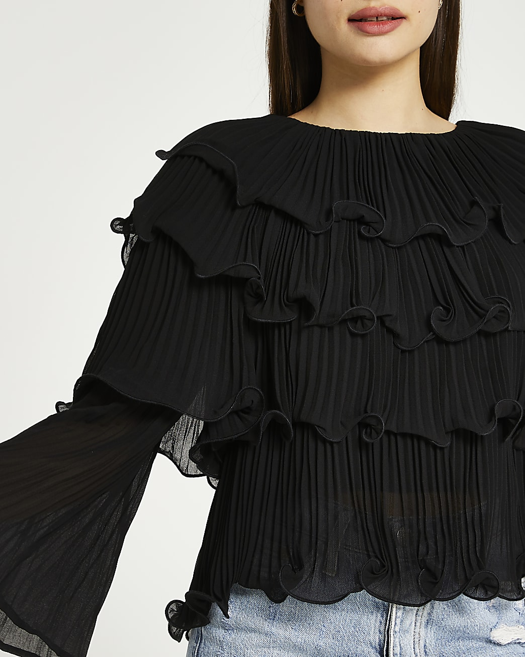 Black frill detail layered top