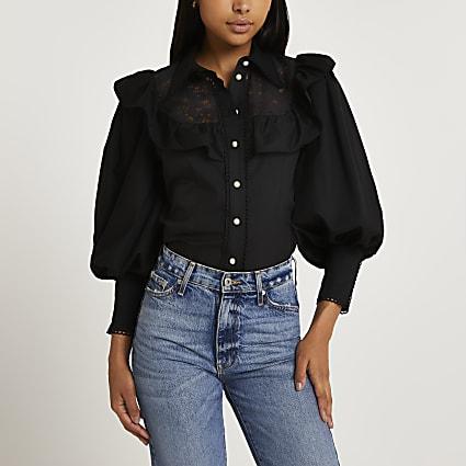 Black frill detail shirt