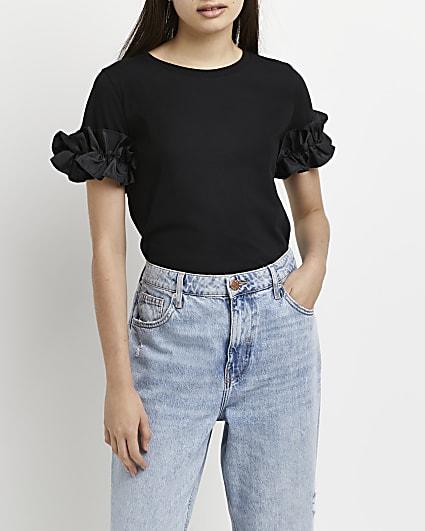 Black frill detail t-shirt