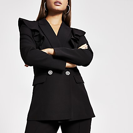 Black frill diamante double breasted blazer