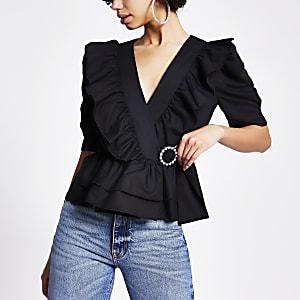 Zwarte poplin blouse met ruches voor