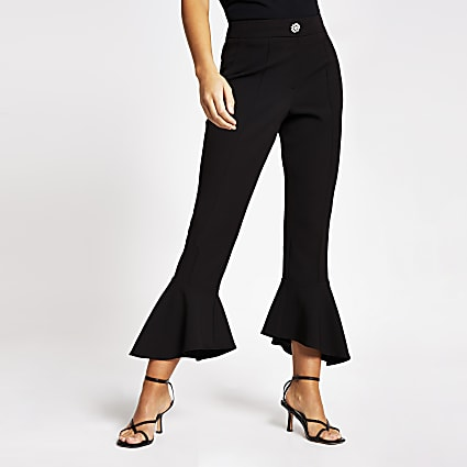 Black frill hem flared trousers