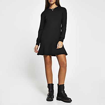 Black frill hem long sleeve mini dress