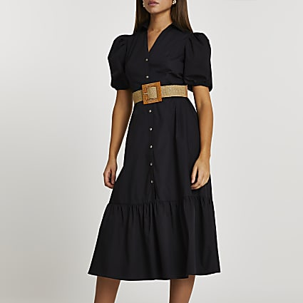 Black frill hem puff sleeve midi shirt dress
