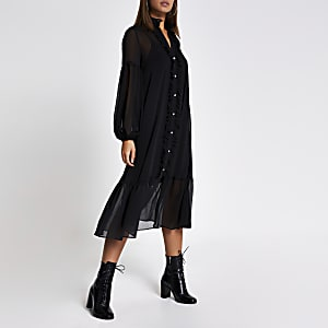 Black frill long sleeve midi smock dress