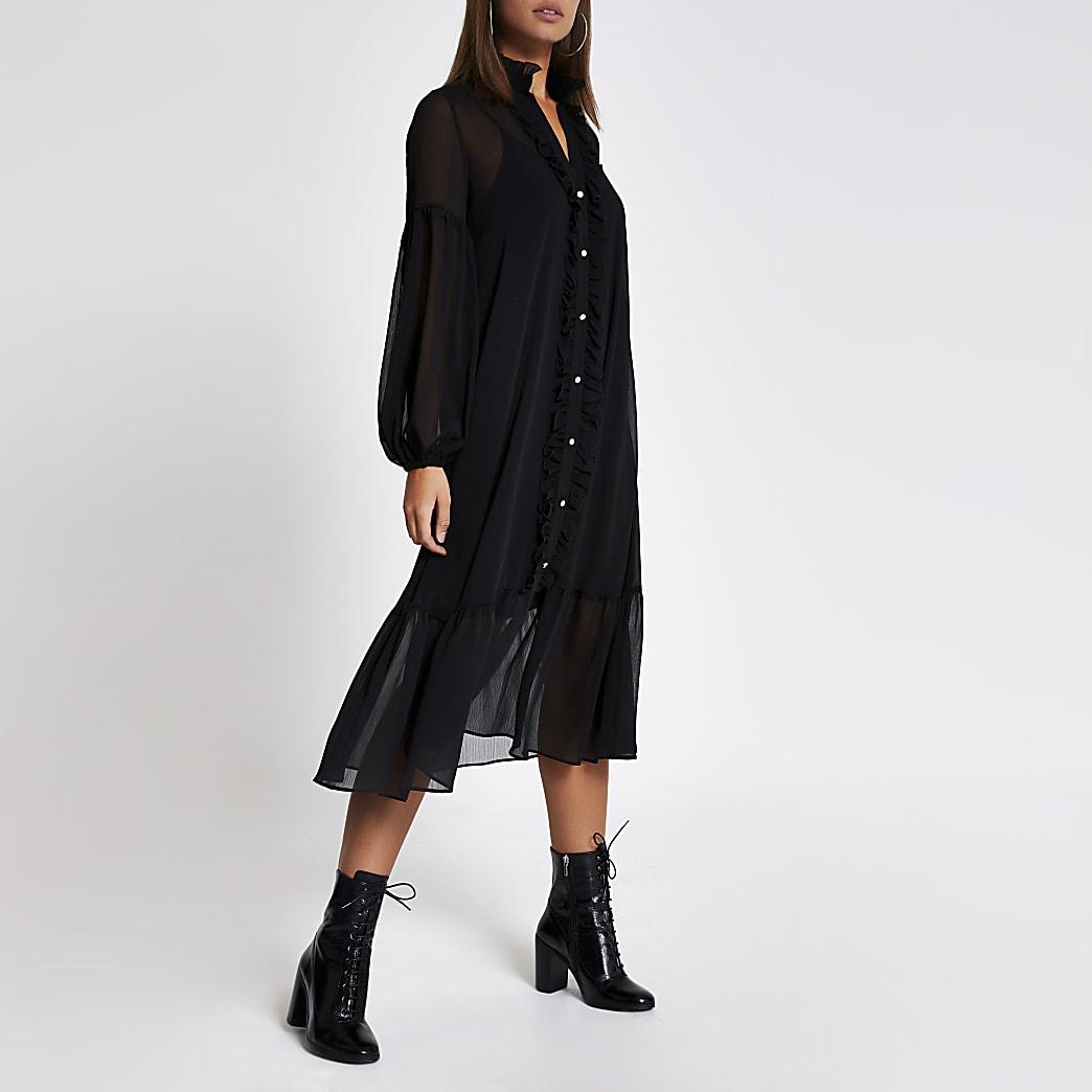 Zwarte gesmokte midi-jurk met ruches en lange mouwen