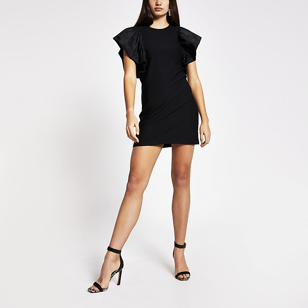 Black frill short sleeve mini dress