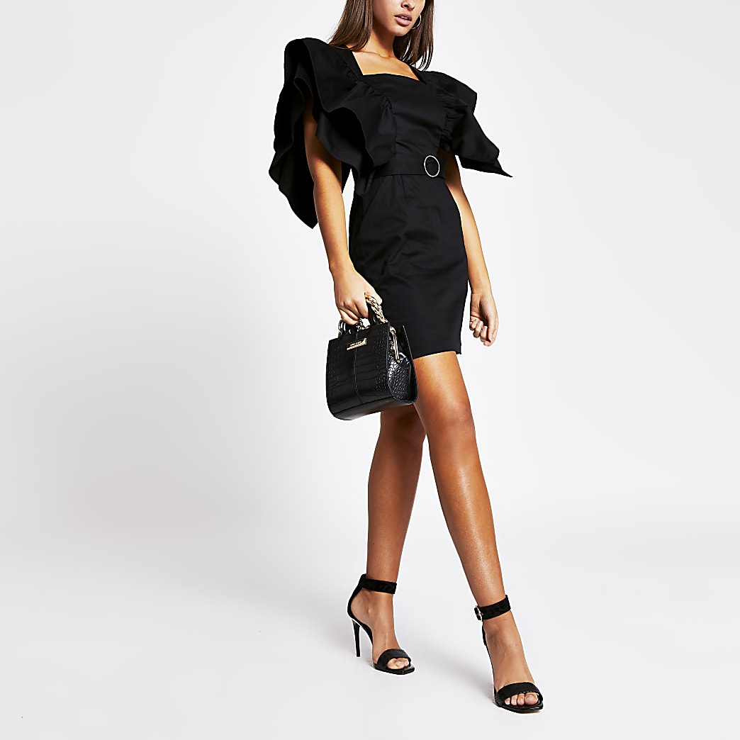 Black frill sleeve belted mini dress