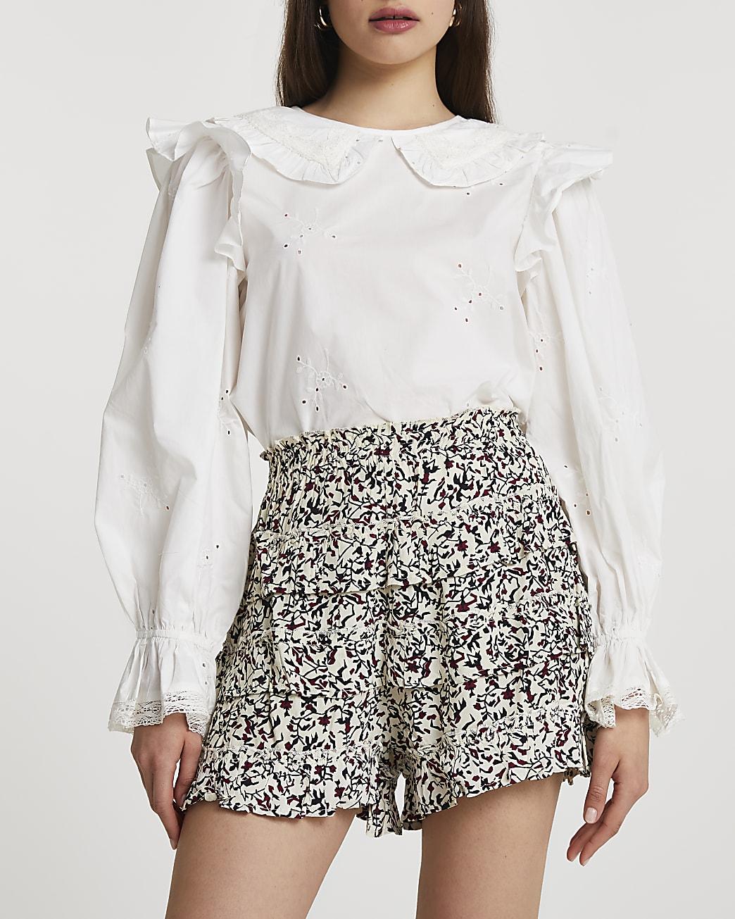 Black frill tiered shorts