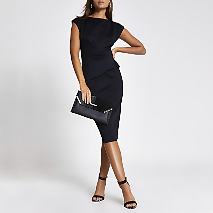 Black frill waist bodycon midi dress