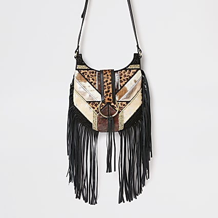 Black fringe animal cross body messenger bag