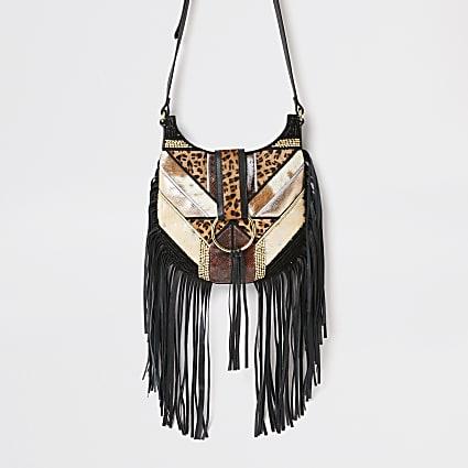 Black fringe animal cross body messenger bag