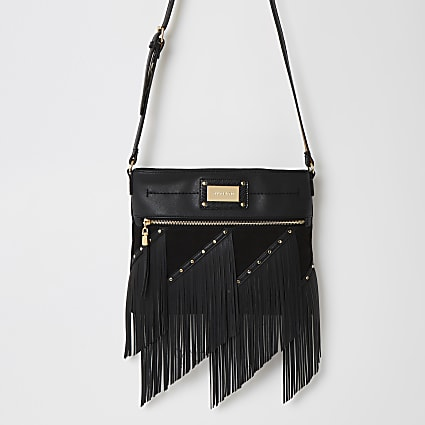Black fringe cross body messenger Handbag