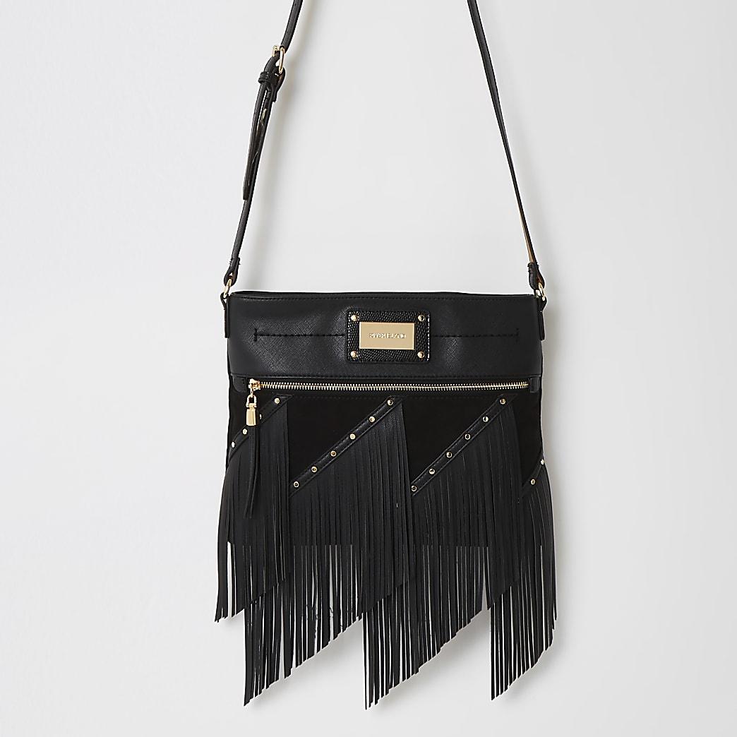 Black fringe cross body messenger Handbag