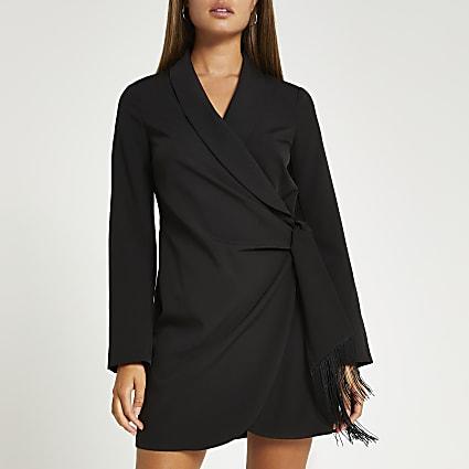 Black fringe detail blazer dress