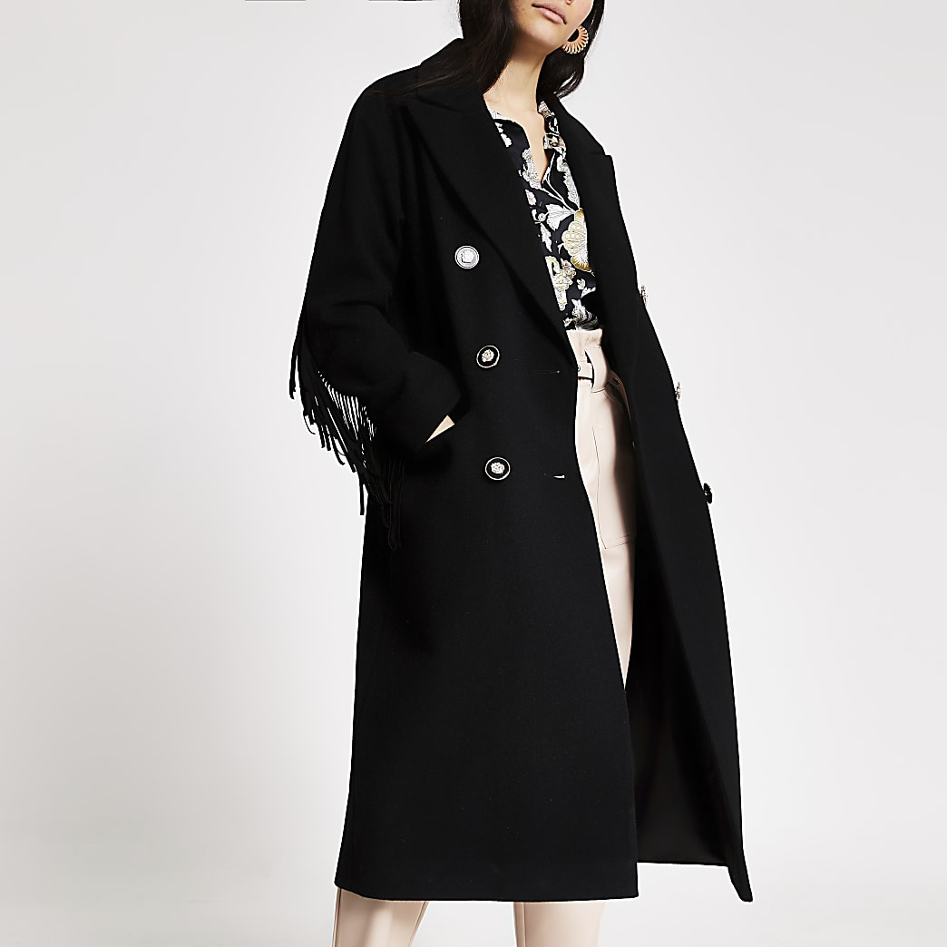 Black fringe double breasted longline coat
