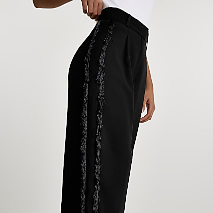 Black fringe side trousers