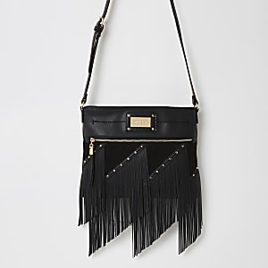 Black fringe studded cross body messenger bag