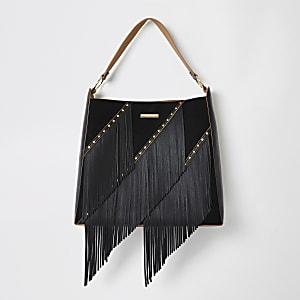 Zwarte ruimvallende tas met franje en kwastjes