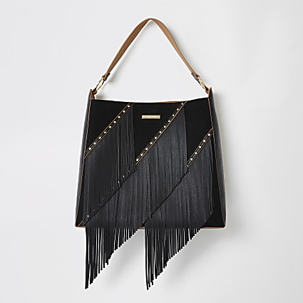 Black fringe tassel slouch bag