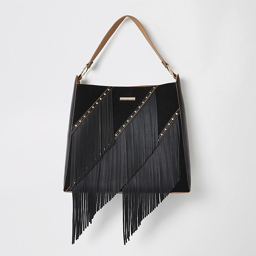 Black fringe tassel slouch bag