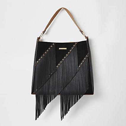 Black fringe tassel slouch handbag