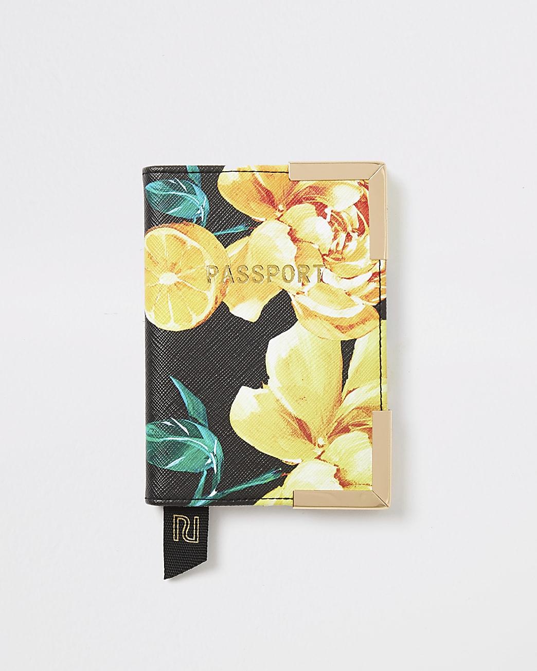 Black fruit flower print passport holder