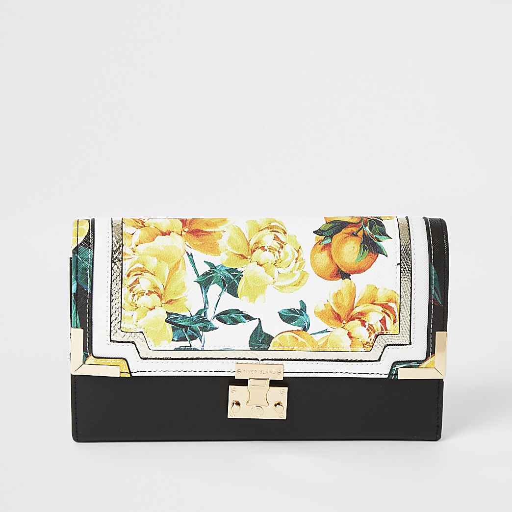 Black fruit flower print travel wallet