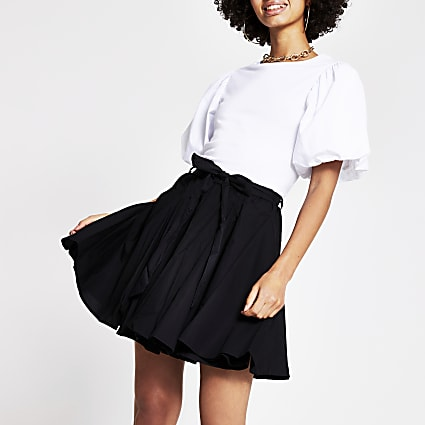 Black full hem mini skirt