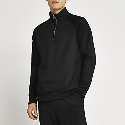 Black funnel neck half zip slim fit jumper