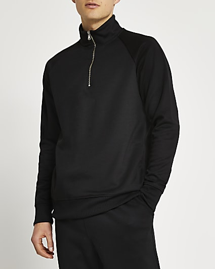 Black funnel neck half zip slim fit jumper