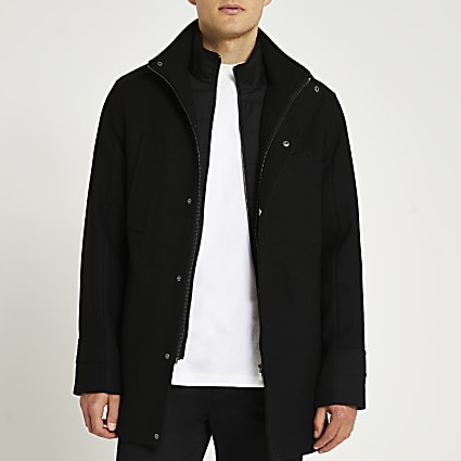 Black funnel neck wool coat