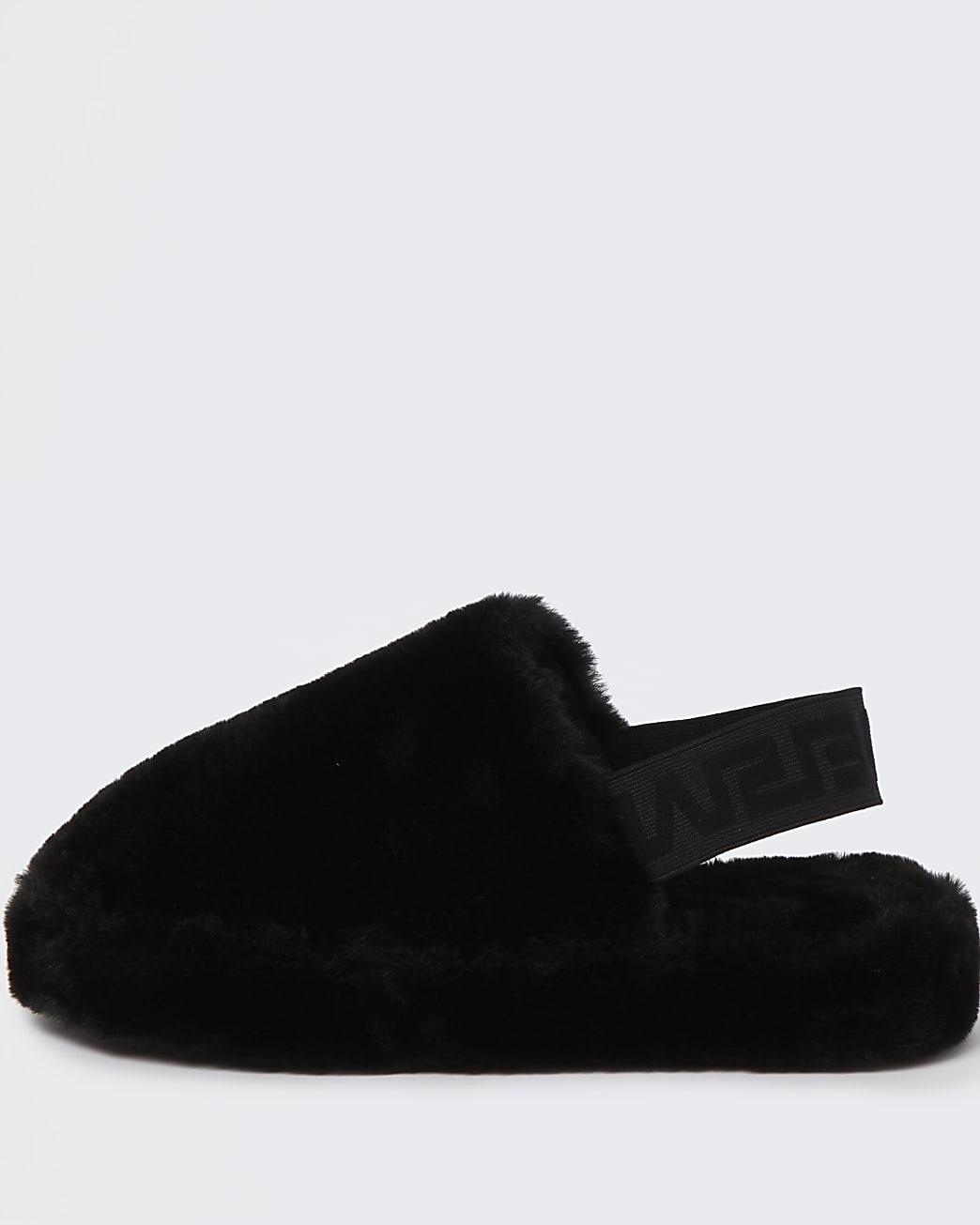 Black fur back strap mule slippers