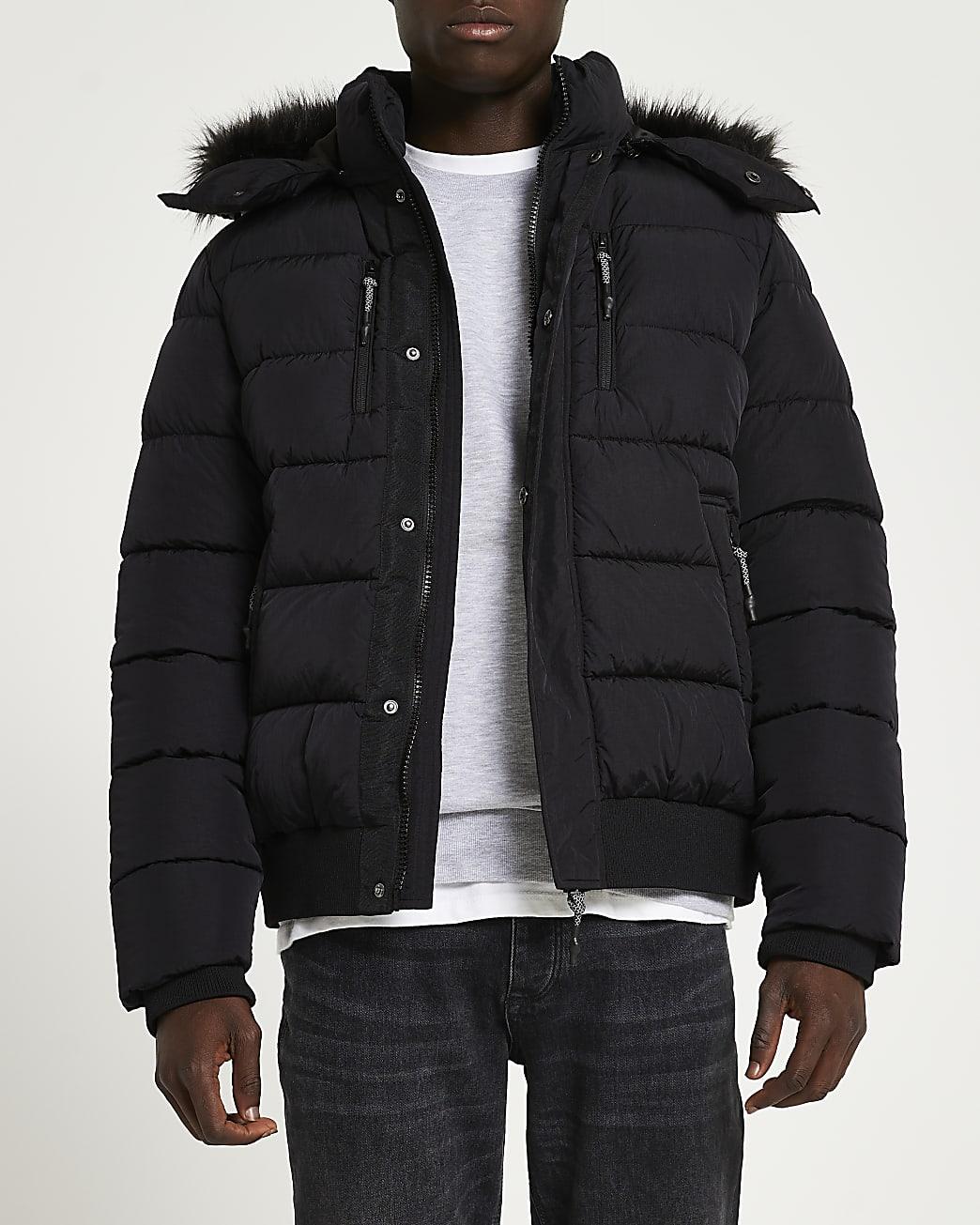 Black fur trim short puffer jacket