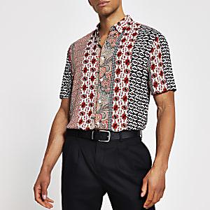 Zwart slim-fit overhemd met kleurvlakken en print