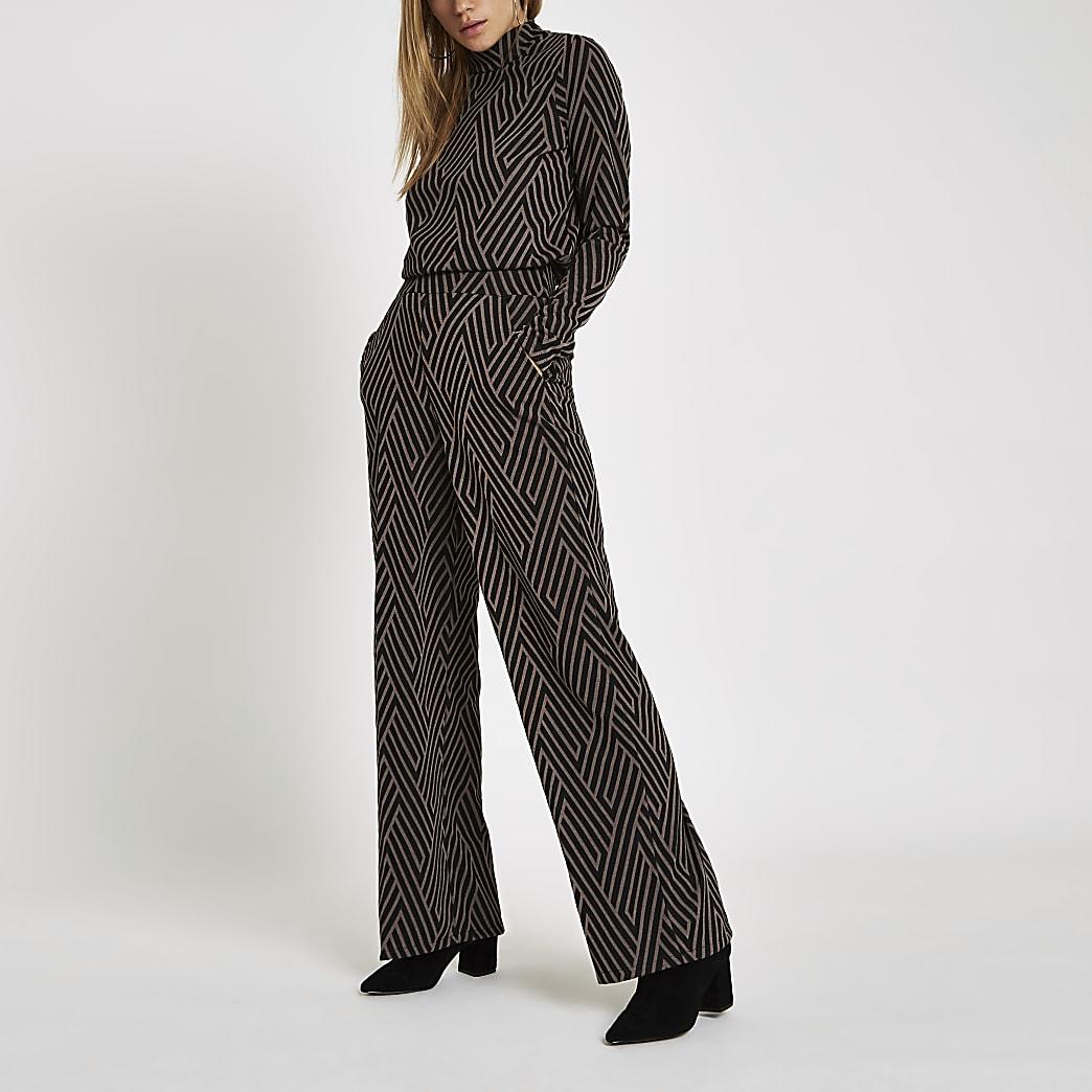 Black geo print jacquard wide leg trousers
