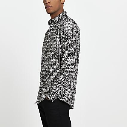 Black geo print long sleeve slim fit shirt