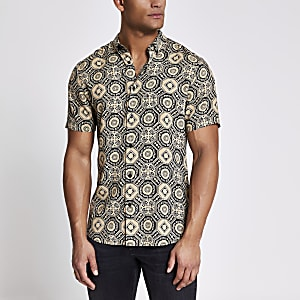 Black geo printed slim fit shirt