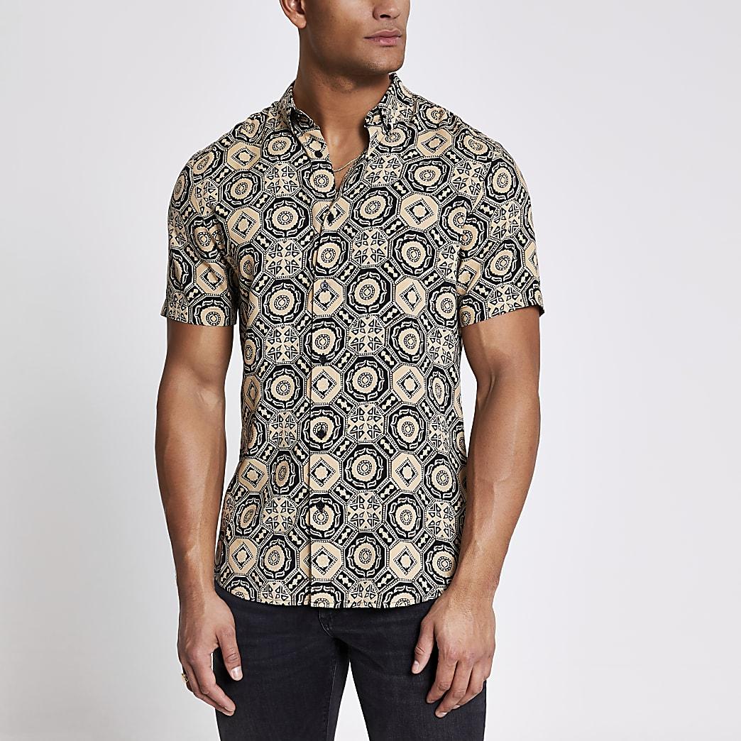 Black geo printed slim fit shirt