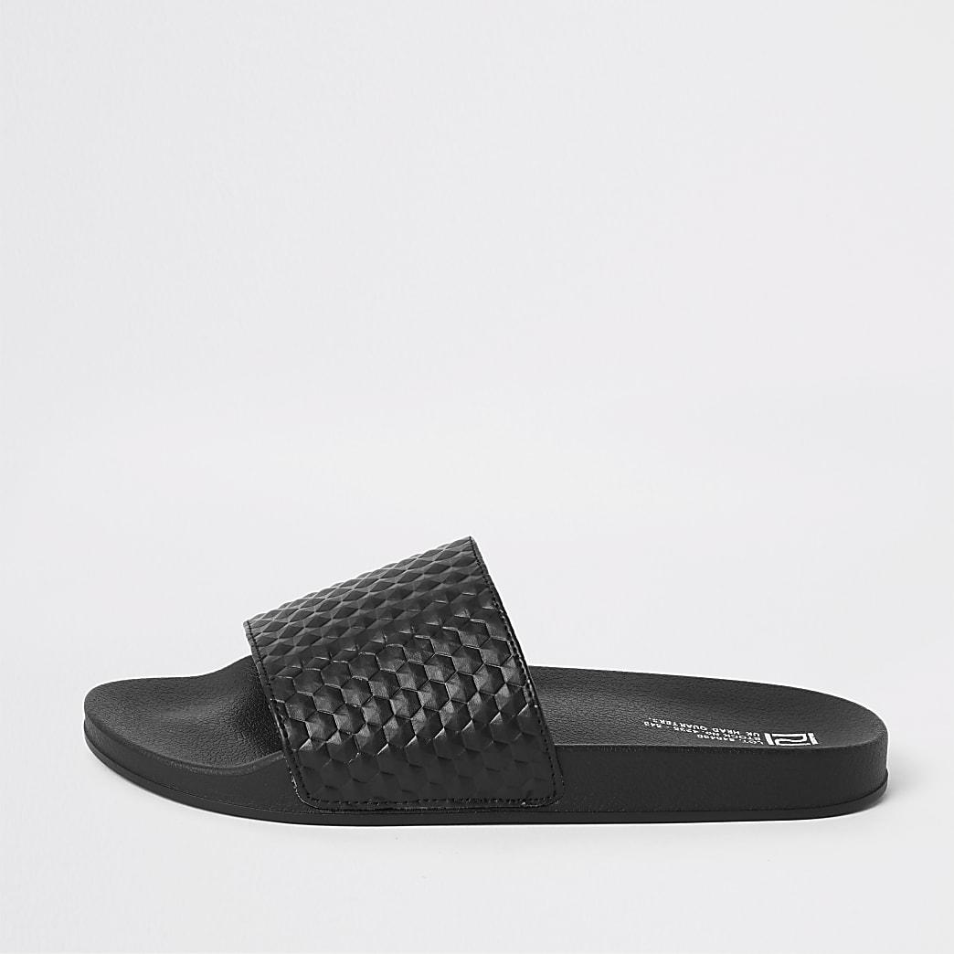 Black geo textured sliders