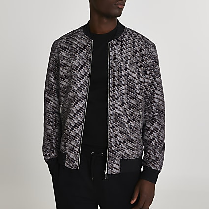 Black geometric bomber jacket