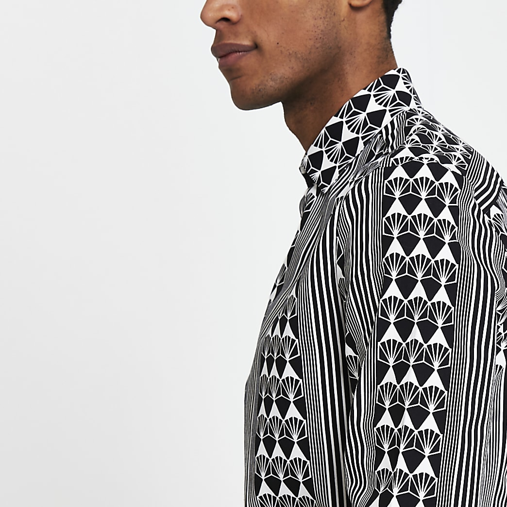 Black geometric long sleeve slim fit shirt