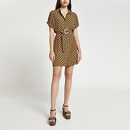 Black geometric print belted shirt dress